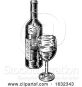 Vector Illustration of Wine Bottle and Glass Vintage Woodcut Engraving by AtStockIllustration