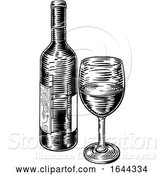 Vector Illustration of Wine Bottle and Glass Vintage Woodcut Etching by AtStockIllustration
