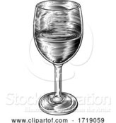 Vector Illustration of Wine Glass Retro Vintage Woodcut Etching Style by AtStockIllustration