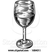 Vector Illustration of Wine Glass Vintage Woodcut Etching Engraving by AtStockIllustration