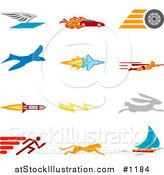 Vector Illustration of Winged Envelope, Flaming Race Car, Tire, Blue Dove, Flying Jet, Super Hero, Rocket, Lightning Bolt, Rabbit, Runner, Cheetah and Sailboat, over a White Background by AtStockIllustration