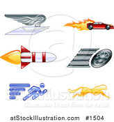 Vector Illustration of Winged Envelope, Sports Car, Rocket, Tire, Sprinter and Cheetah by AtStockIllustration