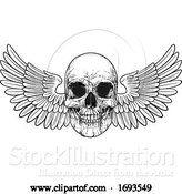 Vector Illustration of Winged Skull Vintage Woodcut Illustration by AtStockIllustration