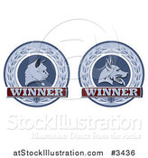 Vector Illustration of Winner Cat and Dog Laurel Wreath Pet Award Medals by AtStockIllustration