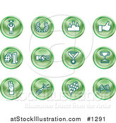 Vector Illustration of Winner, Laurel, Victory, Thumbs Up, Number 1, Handshake, Medal, Trophy, Champagne, Racing Flag and Wine by AtStockIllustration