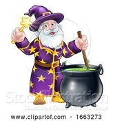 Vector Illustration of Wizard with Wand and Cauldron by AtStockIllustration