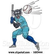 Vector Illustration of Wolf Baseball Player Mascot Swinging Bat at Ball by AtStockIllustration