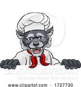 Vector Illustration of Wolf Chef Mascot Sign Character by AtStockIllustration