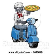 Vector Illustration of Wolf Chef Pizza Restaurant Delivery Scooter by AtStockIllustration