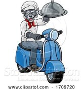 Vector Illustration of Wolf Chef Scooter Mascot Character by AtStockIllustration