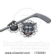 Vector Illustration of Wolf Ice Hockey Player Animal Sports Mascot by AtStockIllustration