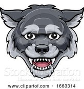 Vector Illustration of Wolf Mascot Cute Happy Character by AtStockIllustration