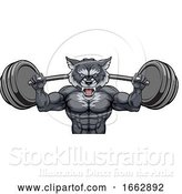 Vector Illustration of Wolf Mascot Weight Lifting Barbell Body Builder by AtStockIllustration