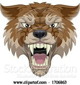 Vector Illustration of Wolf or Werewolf Monster Scary Dog Angry Mascot by AtStockIllustration