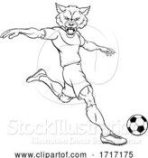 Vector Illustration of Wolf Soccer Football Player Animal Sports Mascot by AtStockIllustration