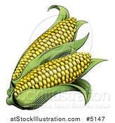 Vector Illustration of Woodblock Corn by AtStockIllustration