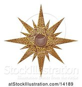 Vector Illustration of Woodcut Styled Golden Christmas Star by AtStockIllustration
