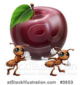 Vector Illustration of Worker Ants Carrying Away a Red Apple by AtStockIllustration