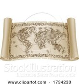 Vector Illustration of World Map Drawing Old Woodcut Engraved Scroll by AtStockIllustration