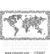 Vector Illustration of World Map Drawing Old Woodcut Engraved Style by AtStockIllustration