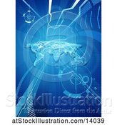 Vector Illustration of World Trade or Logistisics Background with Paths and a World Map by AtStockIllustration