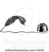 Vector Illustration of Writing Feather Quill Pen with a Line and Ink Well by AtStockIllustration
