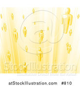 Vector Illustration of Yellow Business People or Souls Heading to Heaven by AtStockIllustration