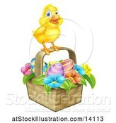 Vector Illustration of Yellow Chick on a Basket with Easter Eggs and Flowers by AtStockIllustration