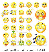 Vector Illustration of Yellow Emoticon Faces with Different Expressions by AtStockIllustration