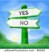 Vector Illustration of Yes and No Arrow Signs over Grass at Sunrise by AtStockIllustration