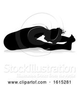 Vector Illustration of Yoga Pilates Pose Lady Silhouette, on a White Background by AtStockIllustration