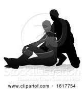 Vector Illustration of Young Couple People Silhouette, on a White Background by AtStockIllustration