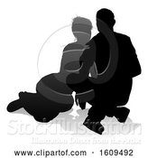 Vector Illustration of Young Couple People Silhouette, with a Reflection or Shadow, on a White Background by AtStockIllustration