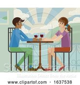 Vector Illustration of Young Couple Sea Side Restaurant by AtStockIllustration
