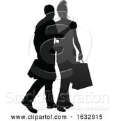 Vector Illustration of Young Couple Shopping Silhouettes by AtStockIllustration