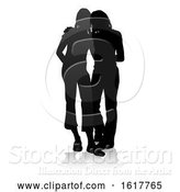 Vector Illustration of Young Friends Silhouette, on a White Background by AtStockIllustration
