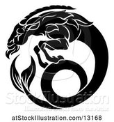 Vector Illustration of Zodiac Horoscope Astrology Capricorn Sea Goat Design in Black and White by AtStockIllustration
