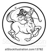 Vector Illustration of Zodiac Horoscope Astrology Centaur Sagittarius Circle Design in Black and White by AtStockIllustration