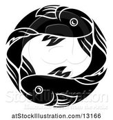 Vector Illustration of Zodiac Horoscope Astrology Pisces Fish Circle Design in Black and White by AtStockIllustration