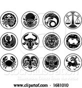Vector Illustration of Zodiac Horoscope Astrology Star Signs Icon Set by AtStockIllustration
