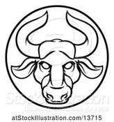 Vector Illustration of Zodiac Horoscope Astrology Taurus Bull Circle Design in Black and White by AtStockIllustration