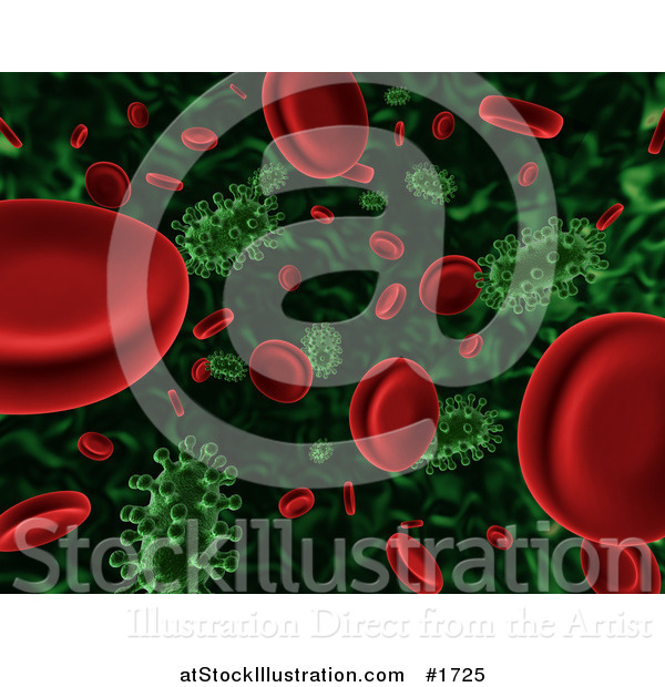 Illustration of a 3d Background of Floating Green Viruses Attacking Red Blood Cells