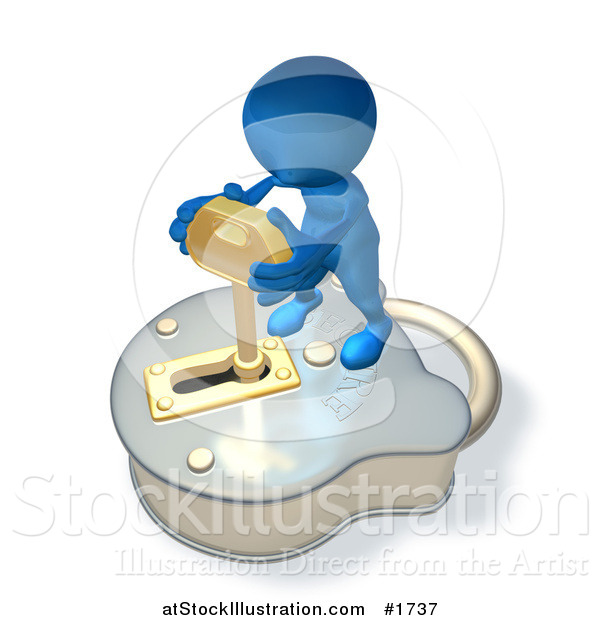 Illustration of a 3d Blue Guy Standing on a Big Padlock and Turning a Key