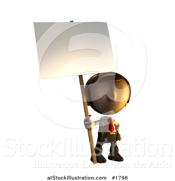 Illustration of a 3d Business Man Character Mascot Standing Holding a Sign Placard on a Pole