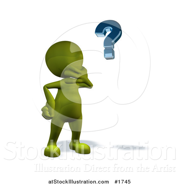 Illustration of a 3d Green Man Pondering and Looking at a Question Mark