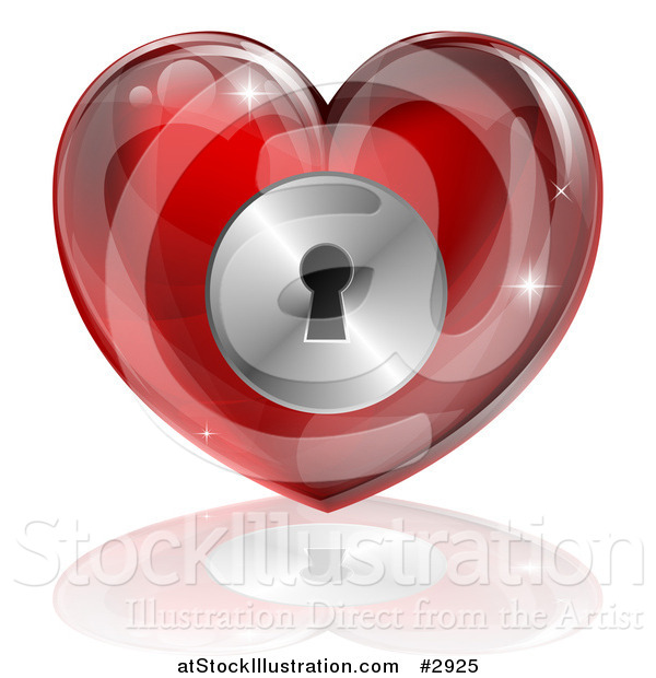 Illustration of a 3d Red Locked Heart with a Key Hole