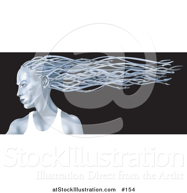 Illustration of a Blue Metallic Futuristic Woman in Profile with Her Hair Flowing in the Breeze Behind Her