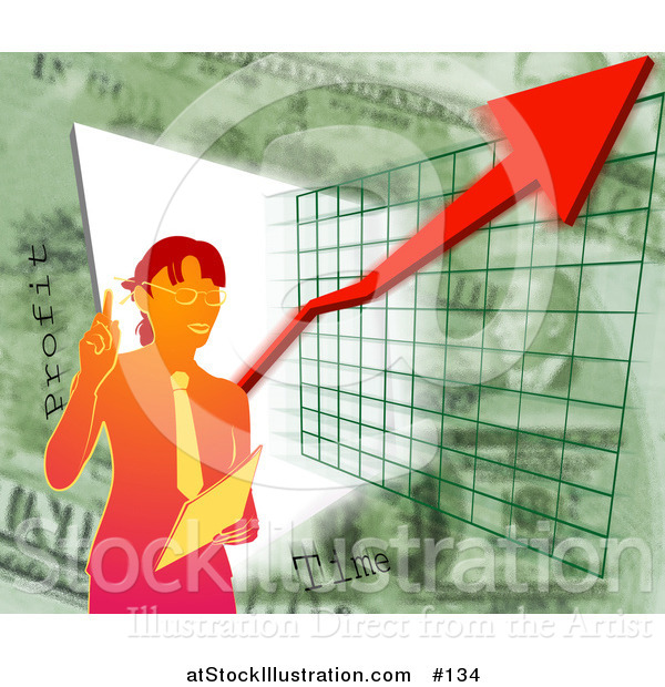 Illustration of a Business Woman Standing over a Presentation Graph and Green
