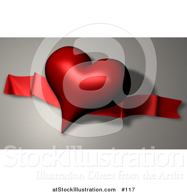 Illustration of a Dark Red Heart Shaped Balloon and Ribbon on Valentines Day