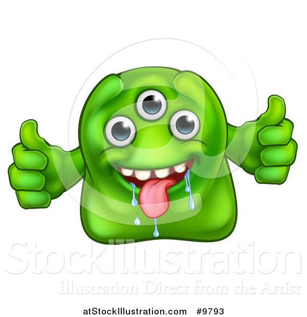 Illustration of a Drooling Three Eyed Green Alien or Monster Giving Two Thumbs up
